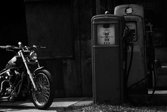 Harley and Pumps (Tim @ Photovisions) Tags: monochrome blackandwhite motorcycle pumps gaspumps harley