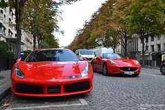 Duo Ferrari !!! (Monde-Auto Passion Photos) Tags: voiture vehicule auto automobile ferrari 488 gtb coupé rouge sportive supercar california cabriolet convertible roadster spider sport france paris