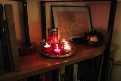 Candle light read. (Elfie Ray Art) Tags: japanese washi paper iittala kastehelmi kivi votives discipline brass roule tray precious box stainless steel georg jensen iwachu cast ironware teapot incense burner design style lifestyle interior decor home book case