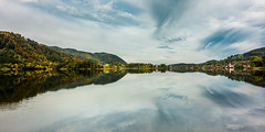 Autumn dreams (hjuengst) Tags: lake schliersee reflection reflektionen wood forest autumn herbst panorama bavaria bayern fall fallcolors herbstfarben clouds wolken