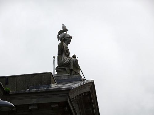 Gull on Justice statue on Caernarfon Court