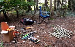 Teachers desk in the outdoor classroom... (Michael C. Hall) Tags: woodland outdoor education experiential classroom learning study materials class