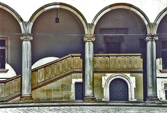 Poland.  September 18th.-25th. 2001 (Cynthia of Harborough) Tags: 2001 architecture art arches balustrades castles courtyards doorways steps