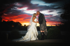 Sunset (Samantha Nicol Art Photography) Tags: romantic love wedding irvine course golf kilt flash modern scotland photographer gailes ayrshire offcameraflashmodern photography art nicol samantha bridegroomsky groomkilt dress dramaticscottish weddingsky