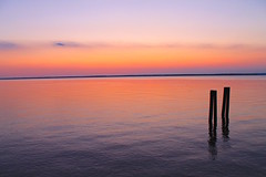 Chesapeake Bay Nightfall (BFru) Tags: chesapeake bay sunset orange sky piers river maryland horizon water nature landscape natural light firesky clouds late summer calm colors colour beauty shore beach freshwater south old crabs blue yellow purple fire outdoors camp nightfall