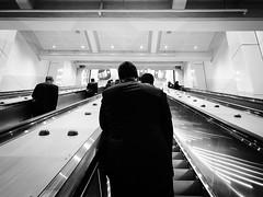 Morning routine with clones (doubleshotblog) Tags: doubleshotblog street iphone candid blackandwhite suits meninblack routine morning escalator trainstation tube metro city clones australia sydney wynyard