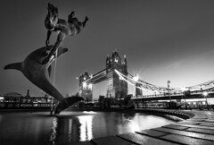 Tower Bridge (Michael Espeland) Tags: bw black white blackandwhite sculpture monochrome tower bridge london city cityscape citystreets streets sunset light lights longexposure wideshot ultrawide fountain urban water people road beautiful photography travel exposure explore downtown midtown evening night