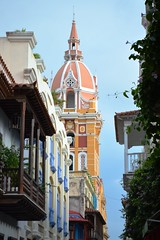 Balconies and church, Cartagena, Colombia (fame&obscurity) Tags: car cartagena colombia church balcony balconies pastel pastels pastelcolours pastelcolors rustic bohemian southamerica latinamerica