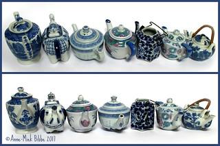 ZEVEN KLEINE  THEE POTJES OP EEN RIJ || SEVEN LITTLE TEA POTS IN A ROW