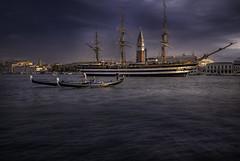 Venetian paths 45(Amerigo Vespucci nel bacino San Marco) (Maurizio51( nonno ter)) Tags: venice venezia lights city amerigo vespucci boats gondola ship italy morning