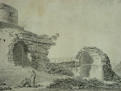 SUVÉE Joseph Benoît - Les Ruines d'un Monument carré, d'une Abside et d'un Acqueduc (drawing, dessin, disegno-Louvre INV32985) - Detail 10 (L'art au présent) Tags: art painter peintre details détail détails detalles drawings dessins dessins18e 18thcenturydrawings dessinsfrançais frenchdrawings peintresfrançais frenchpainters museum paris france ruines ruins stone stones pierre pierres pont bridge acqueduc nature apse fortification édifice building forteresse stronghold fortress croquis étude study sketch sketches antique antiquity ancient antiquités sacred holy blessed figure personnes people femme femmes woman man men