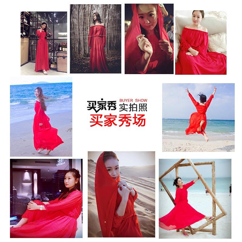 Beach darling chiffon, Bohemia beach skirt, seaside holiday red dress, seven point sleeve, big skirt, summer