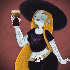 Even my beer is black! 💜 (Ivy Nunes) Tags: beer cerveja cerveza skull gothic gotica witch magia bruxa dark stout draw drawning desenho illustration illustrazione illustrator ilustração dessin dibujo diseno teikna