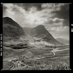 Bronica SQ-A-031-011 (michal kusz) Tags: scotland highlands bronica sqa ilford delta 400 zenzanon blackandwhite bw rock lake stone hills mountain ddx epson v600 toned negative 6x6 120 film squere frame 40mm glencoe