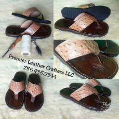 Another finely crafted piece from Premier Leather Crafters LLC, Crystal Flipper Line. Custom leather flip flops wrapped in butterscotch ostrich print.   Look for these beauties this weekend in the Sunshine State, that's there new home.  #inspirational #mo (robertmuhammad) Tags: custommade selfhelp motivational bossup handmade leatherart sheridan leathercarving entrepreneur entrepreneurial noexcuses leather business entrepreneurship inspirational scandals premierleathercrafters crystaledition flipflops levelup leathertooling ostrichprint exoticskin