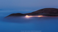 Morning Trail (Jaykhuang) Tags: lowfog bluehour sanjose southbay lighttrail carlighttrail sunrise bayarea hills jayhuangphotography