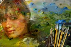 Imagine... (ZenonasM) Tags: woman lady face palette colours brushes