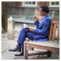 The elegant news reader (sdc_foto) Tags: sdcfoto street streetphotography color pentax pentaxart k1 man newspaper reading elegant sitting cigarette london blue red