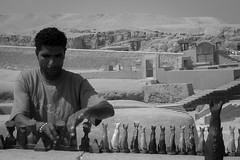 Egyptian Souvenir Vendor. (Livia Lopez) Tags: egypt cairo sphynx travel desert souvenirs vendor man blackandwhite blancoynegro noiretblanc bw photography monocromo egipto viajar desierto vendedor hombre