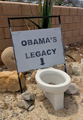 Obama's Legacy (cowyeow) Tags: funny funnysign odd california us usa street americana culture obama fail failure toilet politics protest home legacy desert