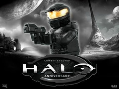 LEGO Halo : Combat Evolved Master Chief (MGF Customs/Reviews) Tags: lego halo master chief combat evolved anniversary john spartan 117 custom figure minifigure brickarms