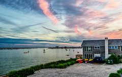 Provincetown Harbor as seen from Aunt Molly's at the Ice House Condominiums (Brett of Binnshire) Tags: photomatixhdr capecod usa powerboat sunset bay highdynamicrange massachusetts kayak sailboat clouds hdr provincetown weather ocean manipulations scenic lightroomhdr harbor boat water lrhdr locationrecorded shoreline
