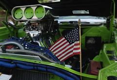 Car Show, Warrenville. 3 (X70) (Mega-Magpie) Tags: fuji fujifilm x70 warrenville summer daze car show dupage il illinois usa america american flag green