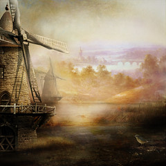 Fantasy landscape SS (BirgittaSjostedt) Tags: fantasy creation landscape texture paint forest mill sliderssunday birgittasjostedt