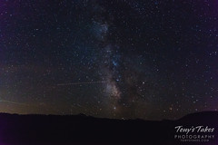 The Milky Way with a couple of planes moving through