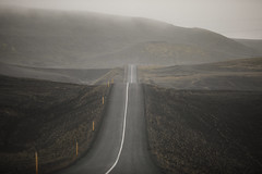 Foggy Volcanic Landscape (wyojones) Tags: iceland thehighlandcenter hrauneyjar volcaniclandscape highlands hálendismiðstöðin mounthekla hecla stratovolcano ash basaltflows tephra highway paved fog rain mist landscape wyojones