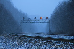 Fade Away (Wanderer Photography) Tags: ns norfolk southern rail railroad railway train pennsylvania pa penna state commonwealth signal position light yellow allegheny alleghenies mountain mountains snow winter west slope
