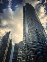 Moscow City reflection (NO PHOTOGRAPHER) Tags: hochhaus gebäude cityscape skyline detail construction blackandwhite monochrome architecture architectural urban building outdoor iphoneography iphonephotography exterier russia moscowcity technoart sky clouds blue skycraper iphone 6s panorama panoramatic москва россия архитектура строительство река мост moscowphotography