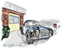 Aiffres, devant l'atelier, une Triumph TR4 (Croctoo) Tags: croctoo croctoofr croquis aquarelle watercolor auto autoancienne triumph garage