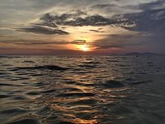 Sunset and Waves (Orlando de Paiva) Tags: sun riodejaneiro beach clouds sunset waves brazil sea sky coast city red orange summer landscape