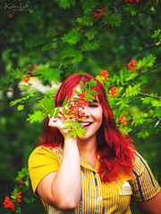 Stay weird! (Kalev Lait photography) Tags: redhead summer autumn fall rowan ashberry portrait woman smile weird happy laugh photoshoot photoshop lightroom dress yellow red green portreature
