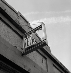 Repair, Pendleton, Oregon (austin granger) Tags: pendleton oregon repair broken irony sign evidence mind word square film gf670