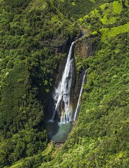 Waterfall in Waimea Canyon, Kauai (benereshefsky) Tags: kauai hawaii island garden gardenisland napali coast ocean beach cliffs green canyon waimea kalalau travelphotography travel travelphotographer helicopter waterfall kokee lookout overlook fins puuokila valley