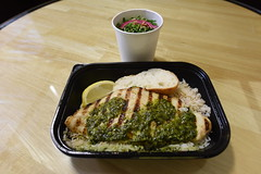 Swai Fish Lunch (SCSQ4) Tags: california fish grill swai lunch chimichurri sauce rice lemon bread kale tabbouleh salad