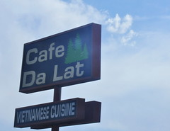 (Veee Man) Tags: gimp nikond5000 albuquerque newmexico centralavenue sky clouds sign business restaurant cafedalat vietnamesecuisine plants trees green