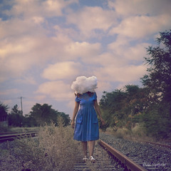 cloud hopping (Nicki Upstairs) Tags: abandoned cloud composite conceptual fineart nickipanou nickiupstairs nikon photoshop portraiture selfportrait squarecrop surreal thessaloniki train woman photomanipulationhead tracks walking blue