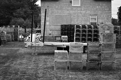 lobsterman's house, traps, trailer, rectangularity, Maine, Nikon D3300, nikon nikkor 55mm f-3.5, 8.29.17 (steve aimone) Tags: residence lobsterman architecture traps lobstertraps rockland maine nikond3300 nikonnikkor55mmf35 nikonprime primelens blackandwhite monochrome monochromatic midcoast