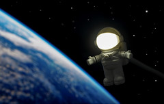 Planet Earth Is Blue And There's Nothing I Can Do (Skyline:)) Tags: minifigures blue spaceman light dark world star black white creative 7dwf