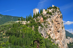 The castle ruins of Arco (echumachenco) Tags: castle ruin medieval history architecture arco trentino tower wall hill mountain cliff tree cypress sarca summer september italy italia italien nikond3100 landscape outdoor