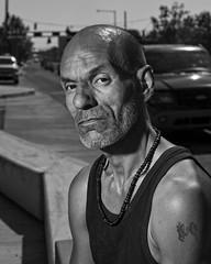 Richard downtown (Mitch Tillison Photography) Tags: street photography portrait stranger albuquerque downtown centralavenue newmexico route66 artproject photostory photo mitchtillison black white bw blackandwhite monochrome nikon d810 tamron 70200 godox strobe hss highspeedsynch