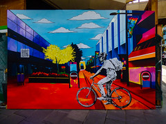 Look Again (Steve Taylor (Photography)) Tags: art mural streetart building office colourful vivid man newzealand nz southisland canterbury christchurch cbd city tree flower sign bike bicycle cycle rider qrcode lookagain