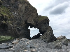 Rock arch at Hele Bay