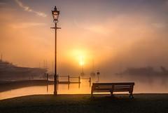 timeless morning (Anthony White) Tags: christchurch uk dorset unitedkingdom england sunrise orangesunrise lampp bench yachts no mist fog mystical landscape mood eerie earlymorning morning