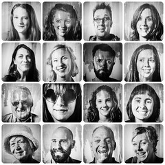 Ventnorians (Jason 87030) Tags: ventnor fringe festival iow island isleofwight man woman girl face facial shot amateur square portrait bw bbw blackandwhite black white noir blanc images picmonkey 2017 fun arty artidtic people person ventnorian smile eyes mouth hair laugh funny amusing test experiment montage collage creative group collection shoot male female hat young old nose style wrinkles water wet artwork paste post