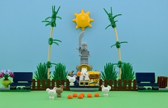 Sensei's pastimes🐔 (Alex THELEGOFAN) Tags: lego legography minifigure minifigures minifig minifigs minifigurine minifigurines sun sensei wu park corn flakes chicken statue bench bushes bamboo plants ninja ninjago movie the series collectible fence