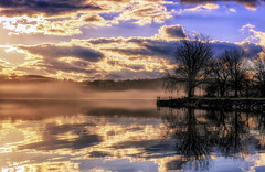 Foggy Sunrise (Roy Manchester) Tags: blue canon 6d 247028l llenses landscape gps geotag hudsonvalley hudsonriver hoyacpl hoyand8 manfrotto fog mist orange sky sunrise